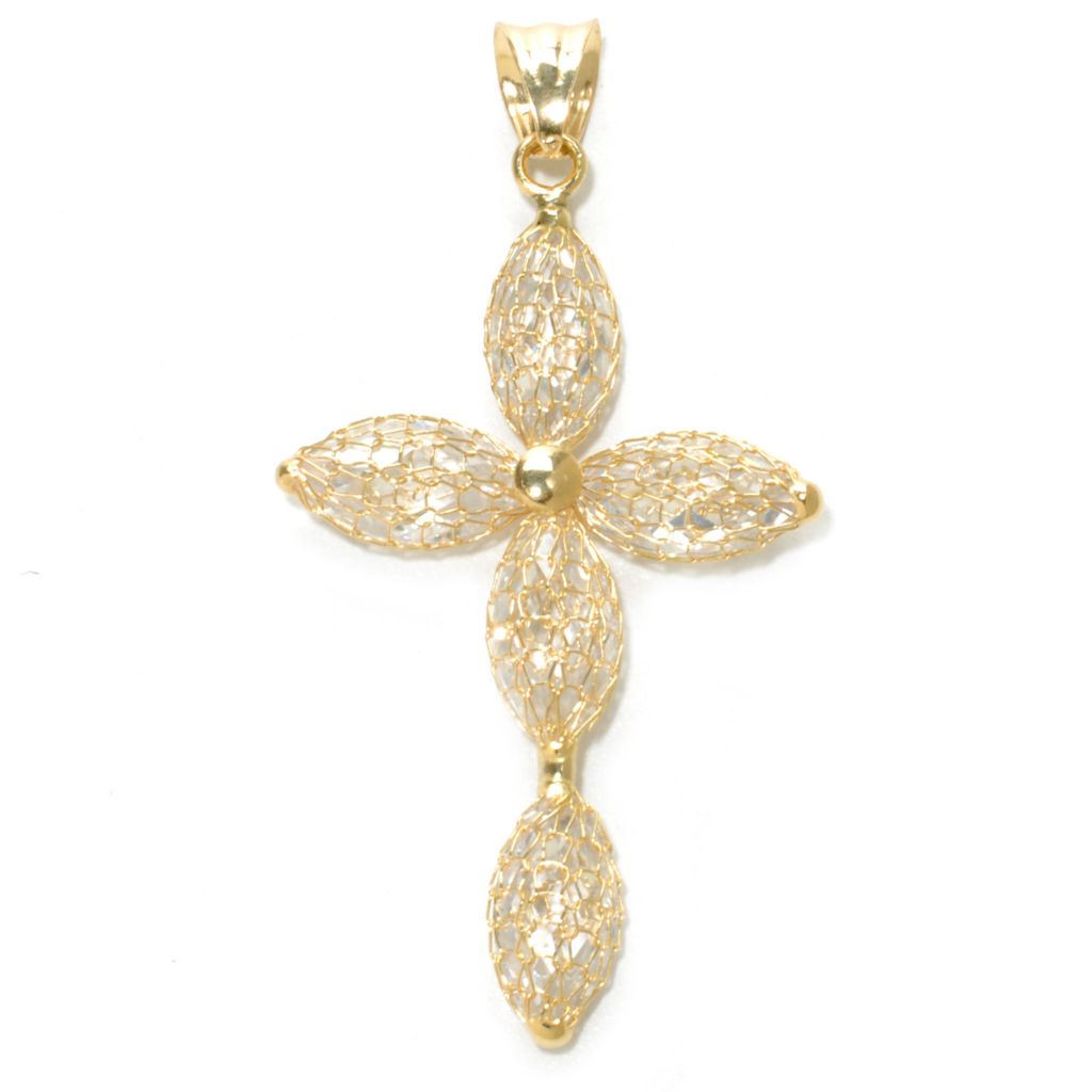 137-159 - Viale18K® Italian Gold 12 x 6mm Simulated Diamond Mesh Cross Pendant