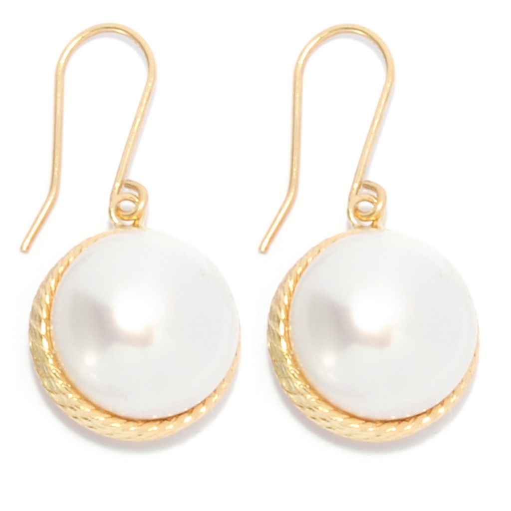 "137-161 - Viale18K® Italian Gold 1"" 13mm Freshwater Cultured Pearl Rope Earrings"