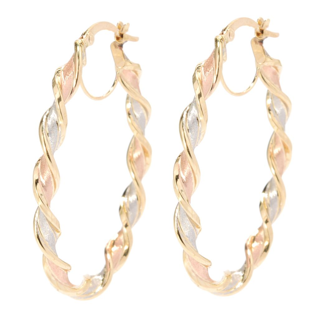 "137-162 - Viale18K® Italian Gold 1.5"" Twisted Oval Hoop Earrings"