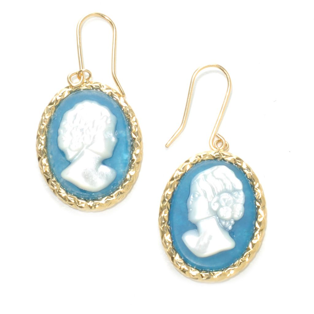 "137-164 - Viale18K® Italian Gold 2.5"" 20 x 15mm Carved Quartzite Portrait Cameo Earrings"