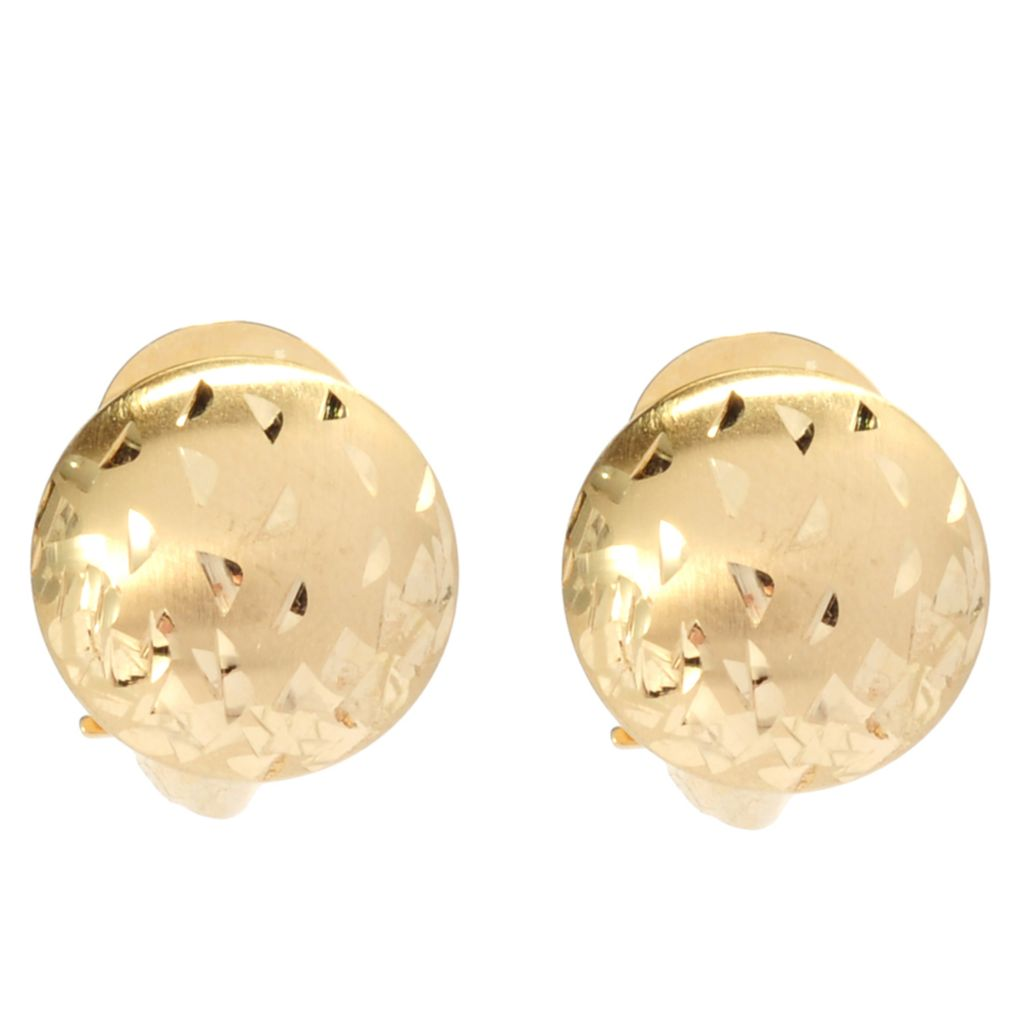 137-166 - Viale18K® Italian Gold Satin Finished & Etched Round Stud Earrings