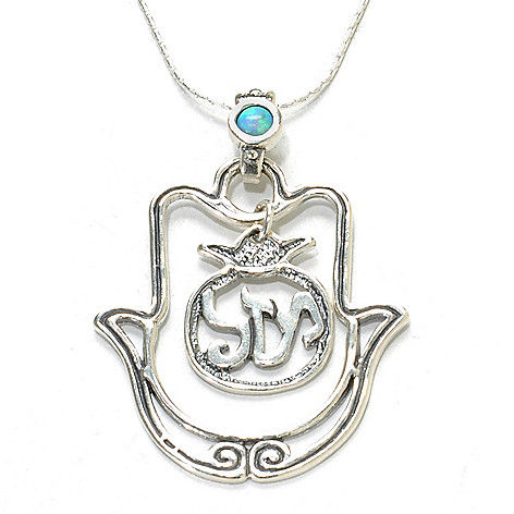 137-173 - Passage to Israel Sterling Silver 18'' Simulated Opal Hamsa ''Luck'' Necklace