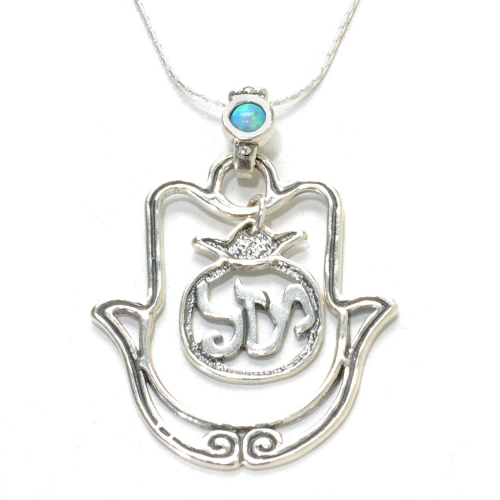 "137-173 - Passage to Israel Sterling Silver 18"" Simulated Blue Opal Hamsa ""Luck"" Necklace"