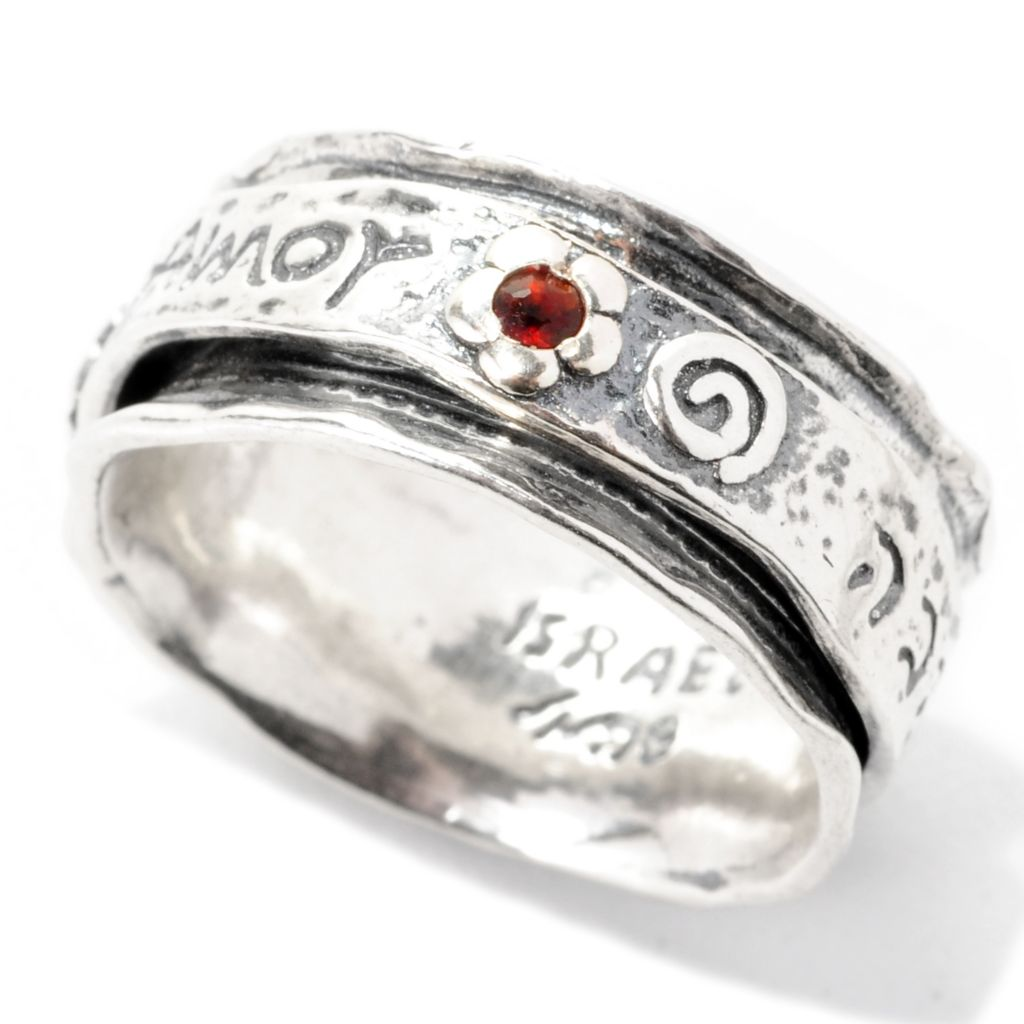 "137-175 - Passage to Israel Sterling Silver Gemstone ""Three Languages of Love"" Spinner Ring"