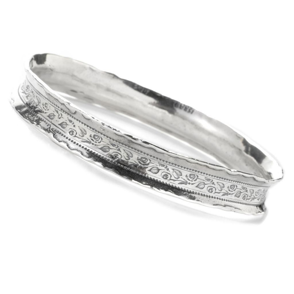 137-177 - Passage to Israel Sterling Silver Textured Edge Concave Slip-on Bangle Bracelet