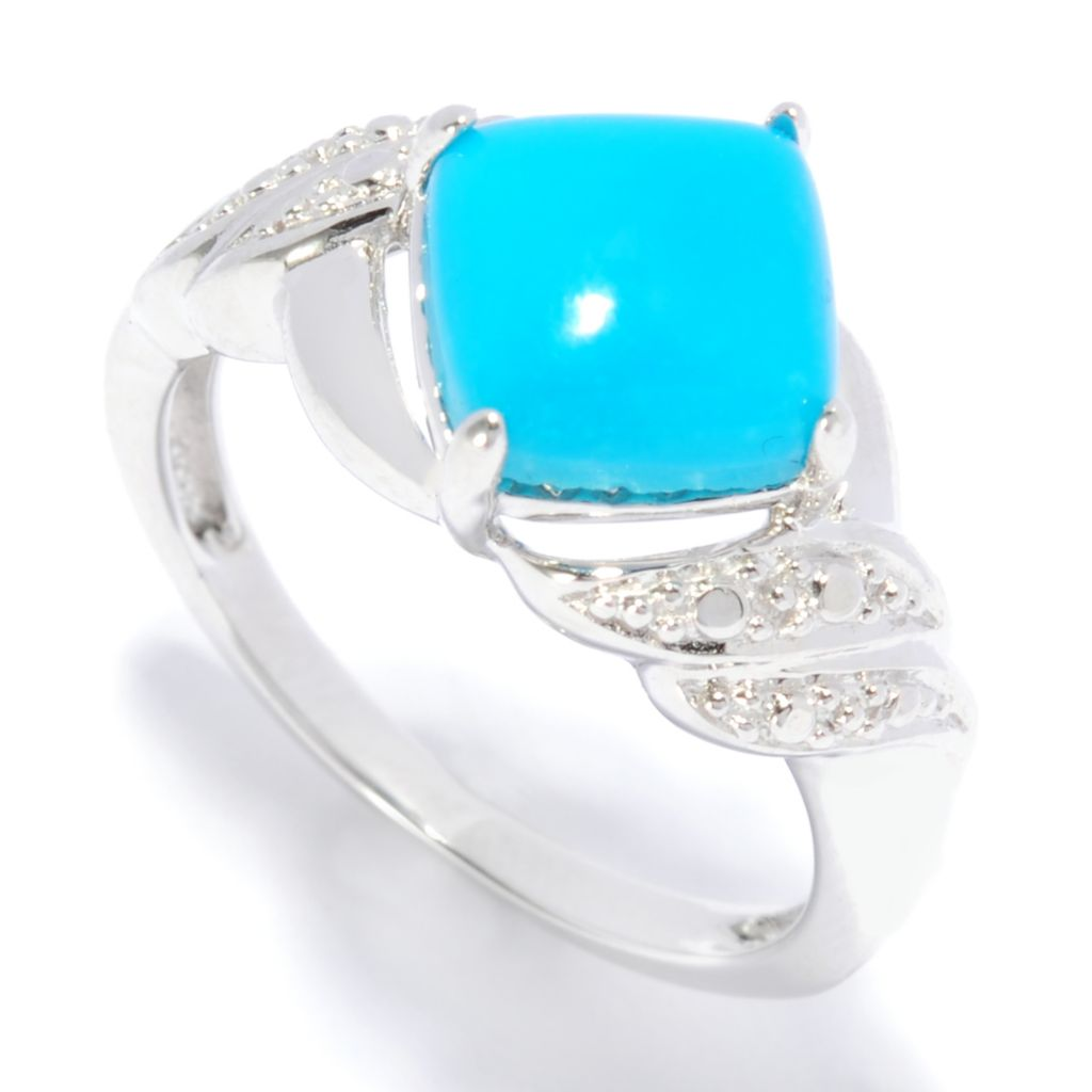 137-195 - Gem Insider Sterling Silver 8mm Cushion Shaped Sleeping Beauty Turquoise Ring