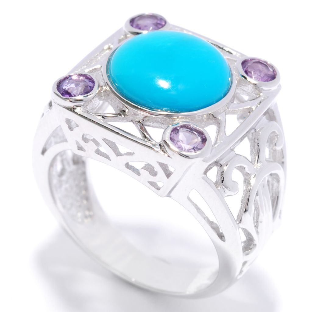137-196 - Gem Insider Sterling Silver 10mm Sleeping Beauty Turquoise & Amethyst Ring