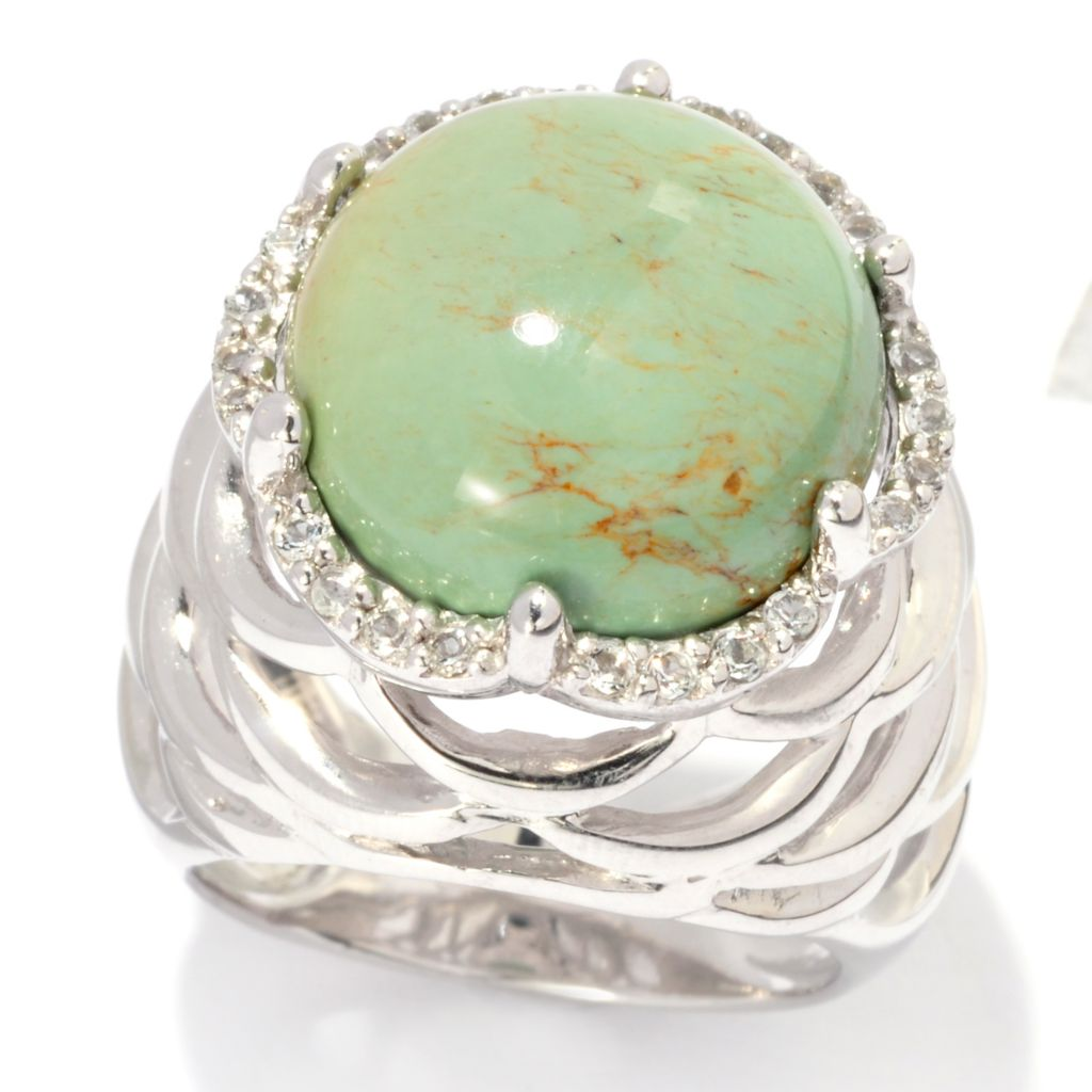 137-199 - Gem Insider Sterling Silver 15mm Round Kingman Turquoise & White Topaz Ring