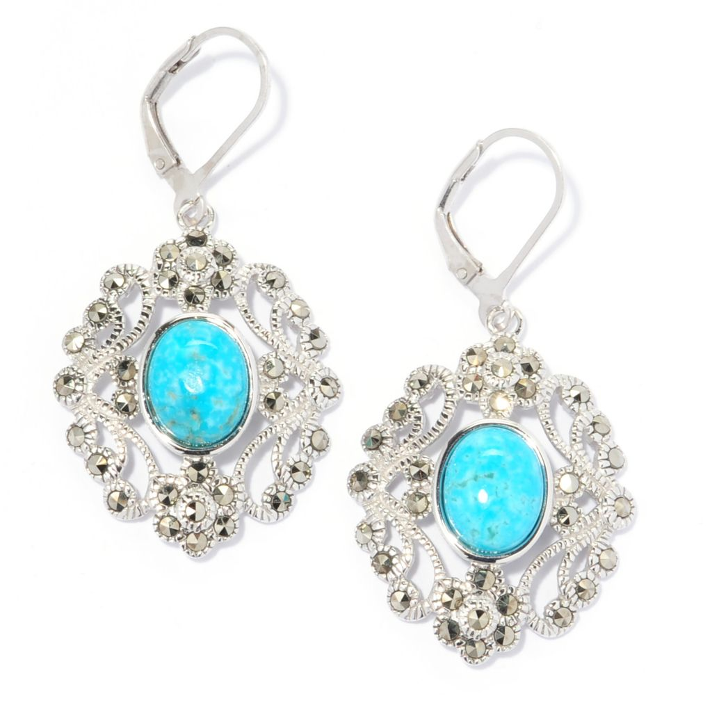 "137-200 - Gem Insider Sterling Silver 1.75"" Kingman Turquoise & Marcasite Earrings"