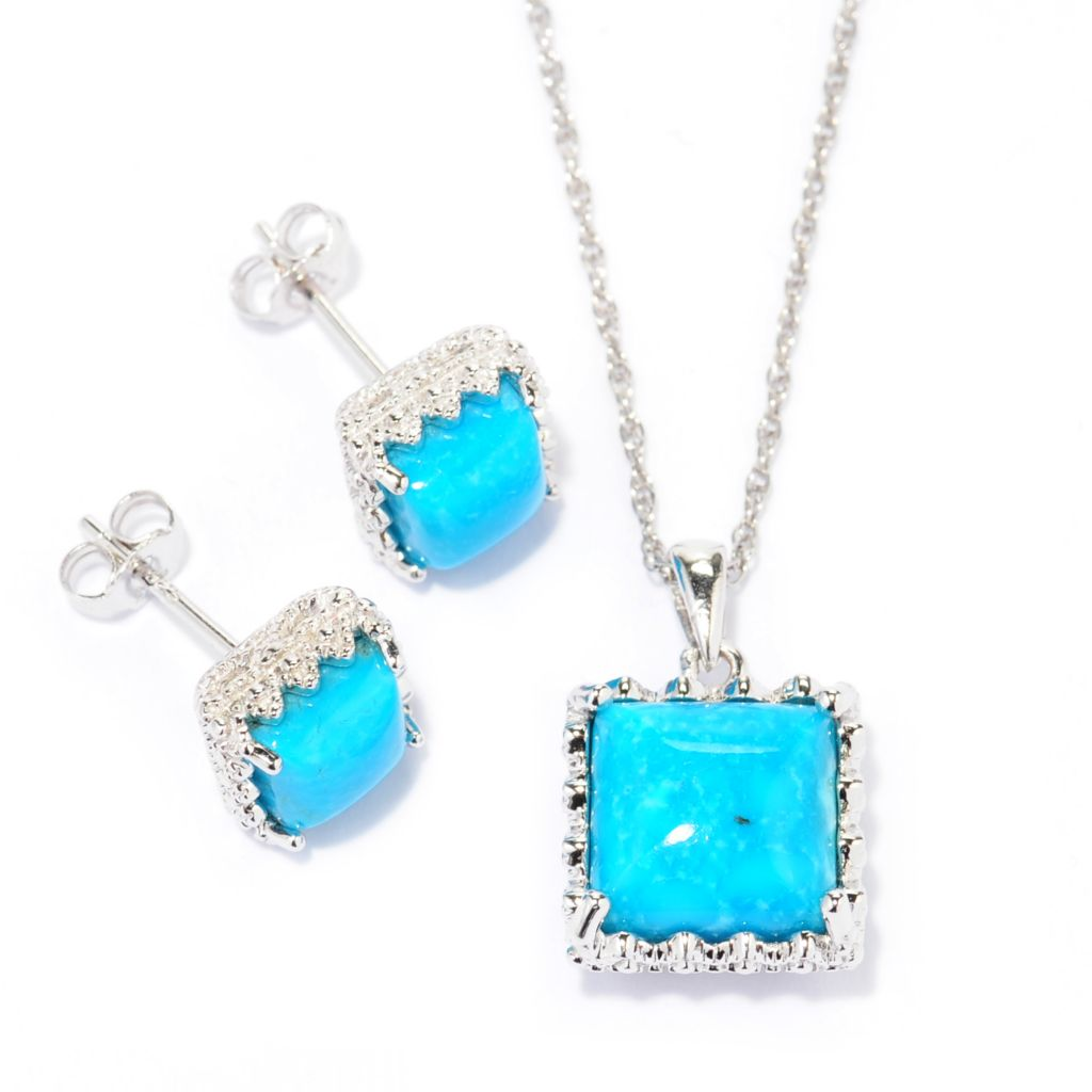 137-203 - Gem Insider Sterling Silver Kingman Turquoise Square Pendant & Stud Earrings Set