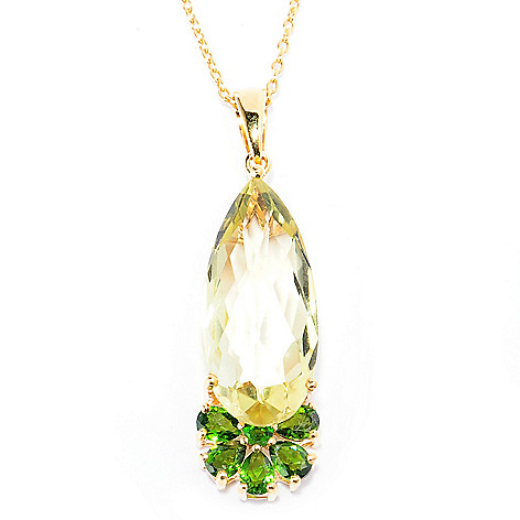 137-204 - NYC II 22 x 10mm Pear Shaped Elongated Gemstone Flower Pendant w/ 18'' Chain