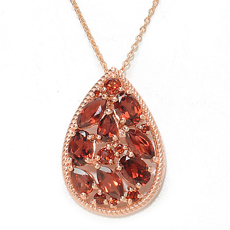 137-205 - NYC II Multi Shape Gemstone Teardrop Pendant w/ 18'' Chain