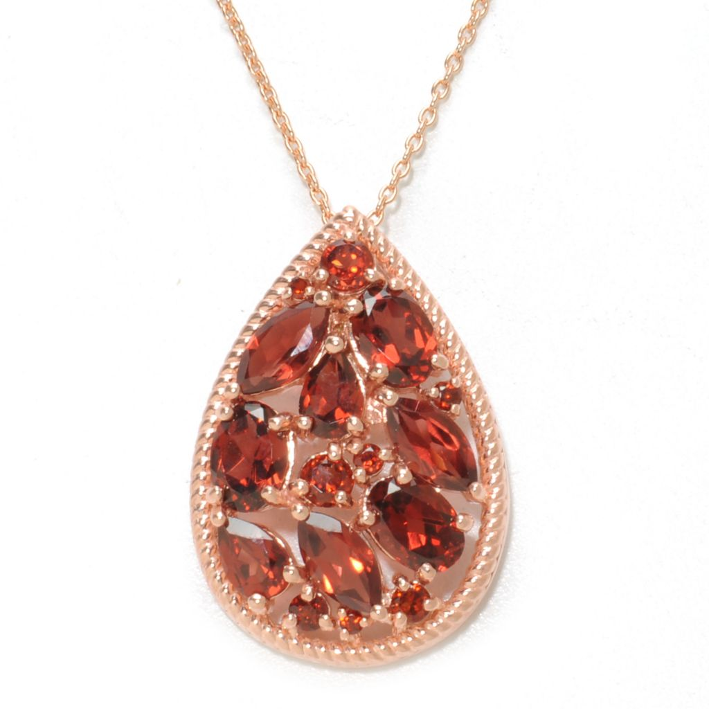"137-205 - NYC II Multi Shape Gemstone Teardrop Pendant w/ 18"" Chain"