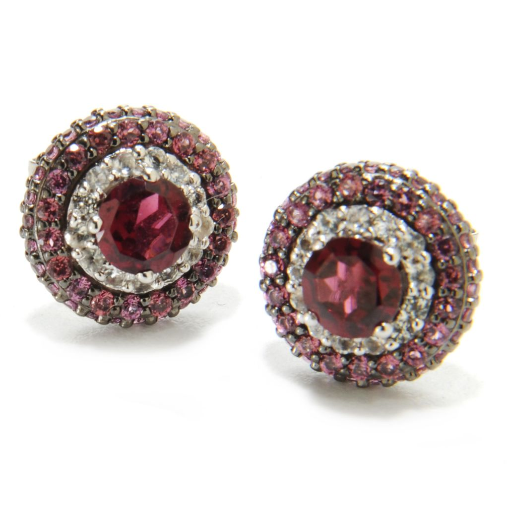 137-206 - Gem Insider Sterling Silver 1.96ctw Rhodolite Garnet & Topaz Halo Earrings