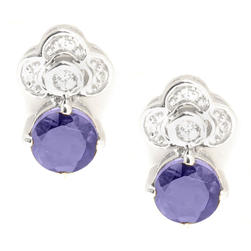 137-207 - Gem Insider Sterling Silver White Zircon & Gemstone Flower Drop Earrings