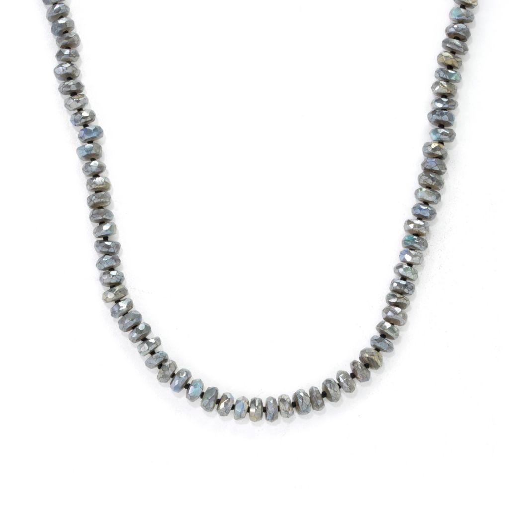 "137-208 - Gem Insider Sterling Silver 36"" Labradorite Bead Necklace w/ 4"" Extender"