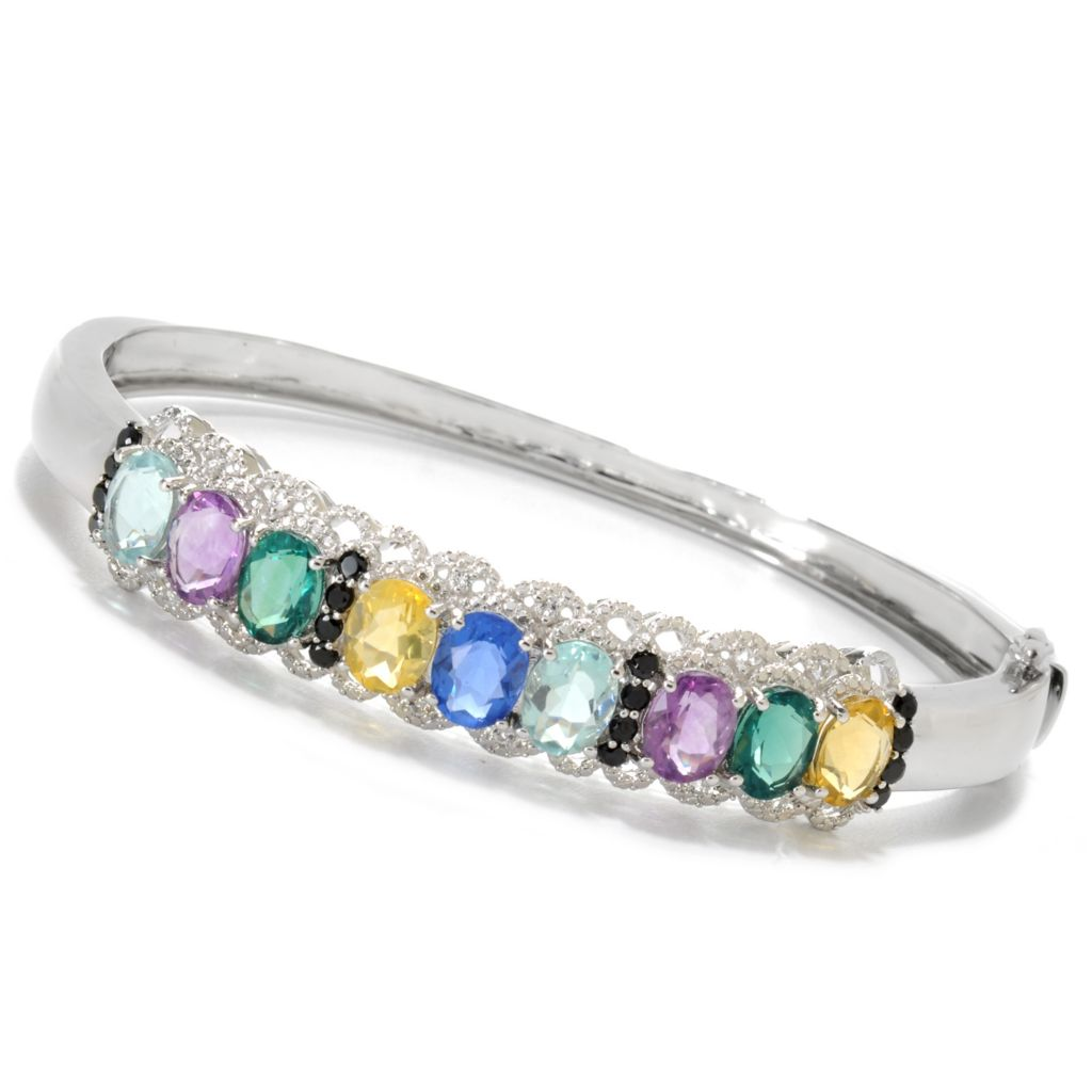 137-210 - Gem Insider Sterling Silver 12.57ctw Fluorite & Multi Gemstone Bangle Bracelet