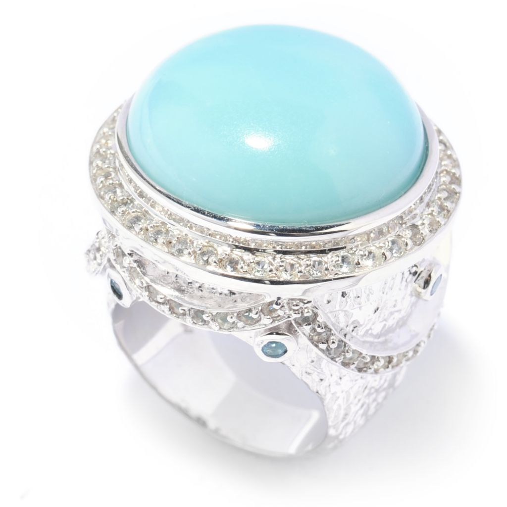 137-212 - Gem Insider Sterling Silver 20mm Amazonite & Multi Topaz Textured Halo Ring