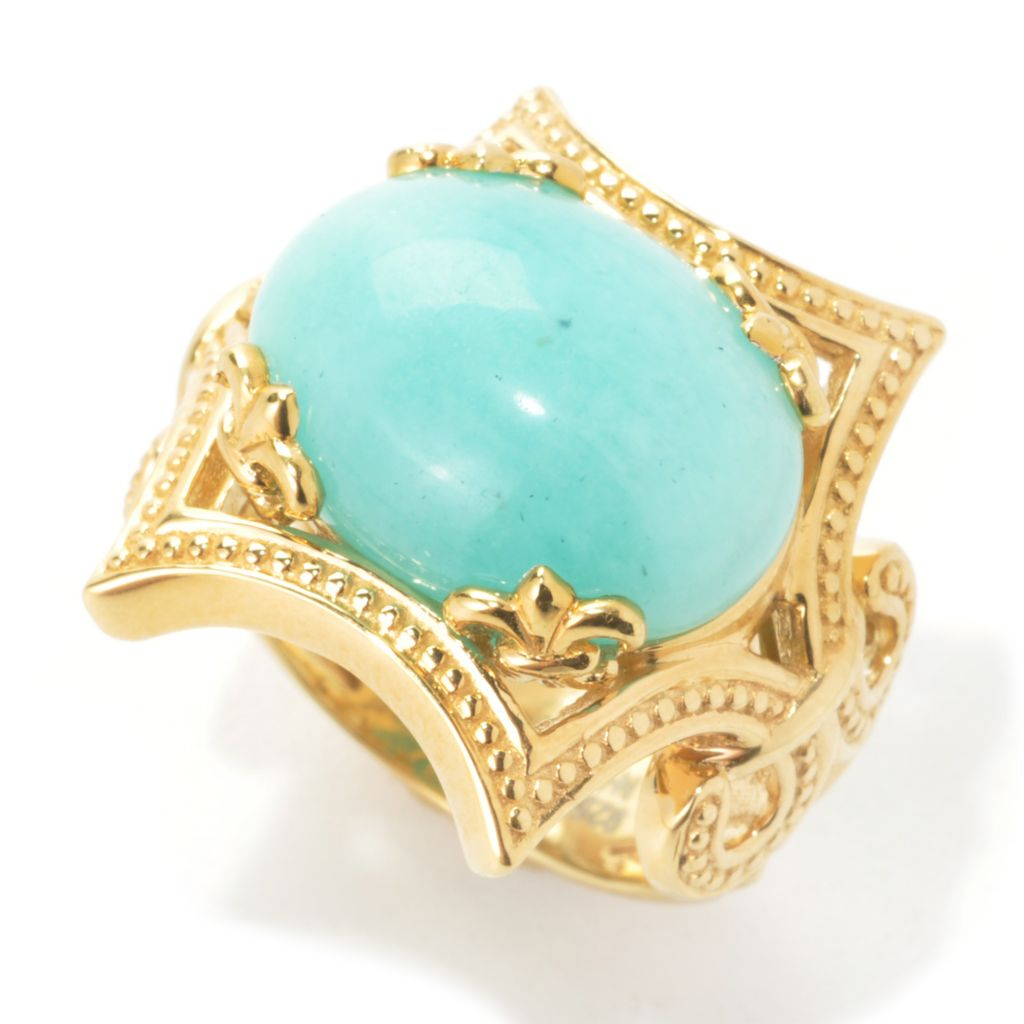 137-215 - Dallas Prince Designs 16 x 12mm Oval Amazonite Beaded Hexagon Ring