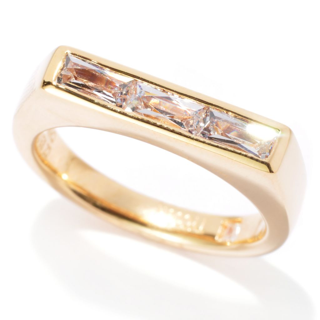 137-218 - TYCOON Baguette Shaped TYCOON CUT Simulated Diamond Three-Stone Ring