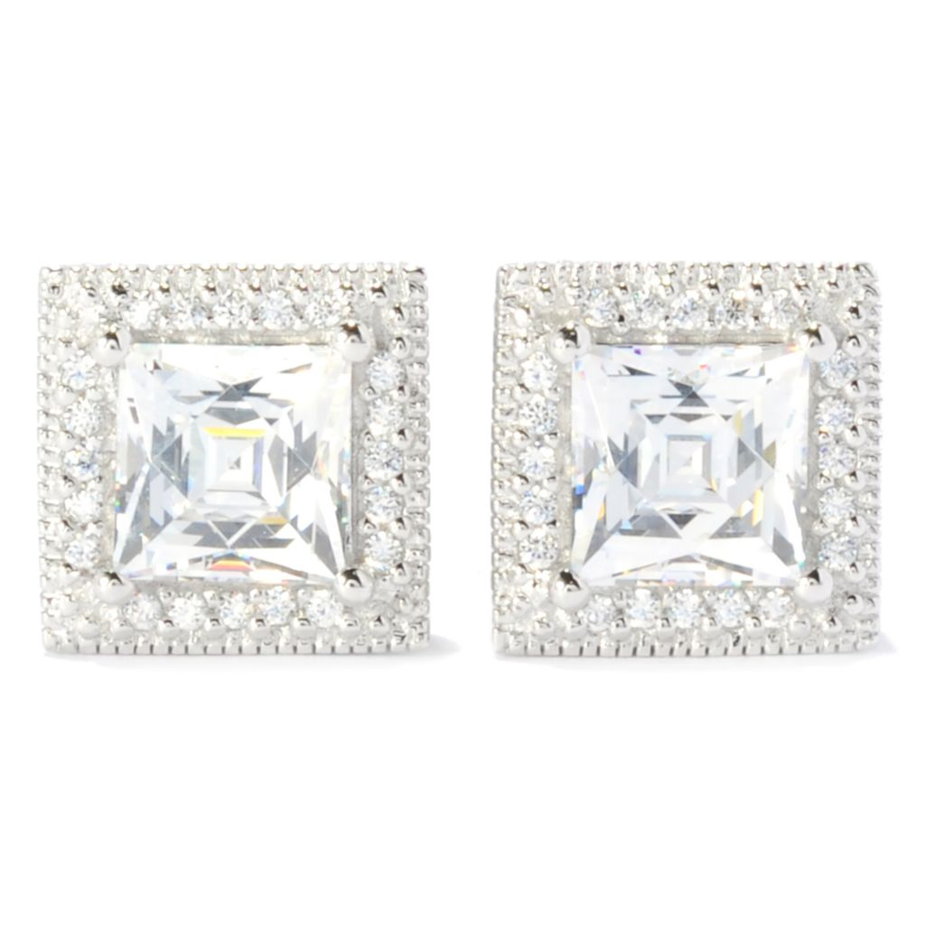 137-220 - TYCOON Platinum Embraced™ TYCOON CUT Simulated Diamond Halo Stud Earrings
