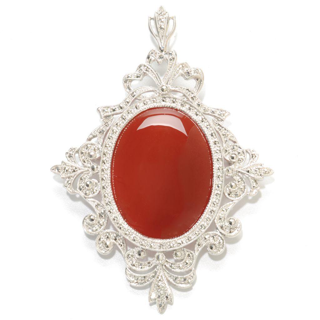 137-222 - Dallas Prince Sterling Silver Carnelian & Marcasite Pin / Pendant