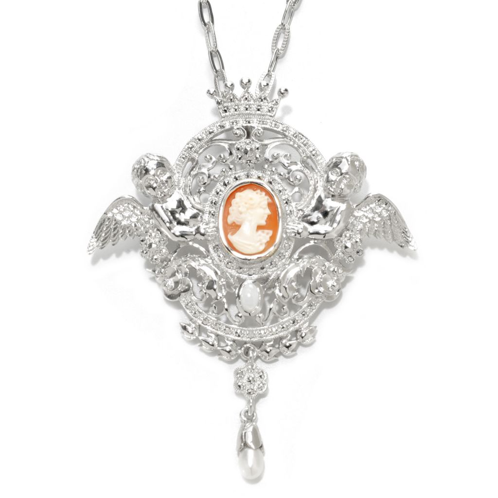 "137-223 - Dallas Prince Designs Sterling Silver 16 x 12mm Carved Cameo & Multi Gem Pin/Pendant w/ 32"" Chain"