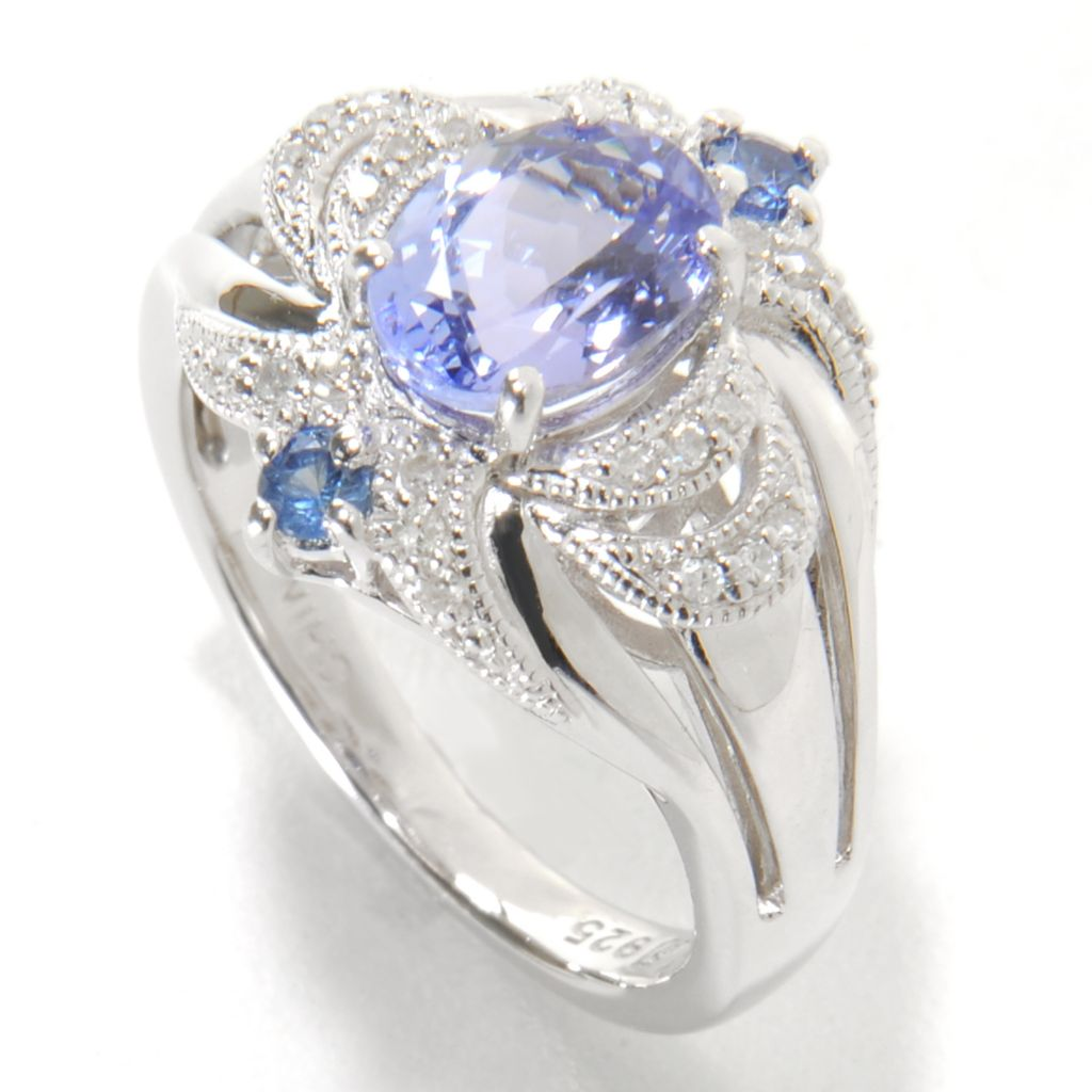 137-226 - Gem Insider Sterling Silver 1.24ctw Tanzanite, Sapphire & Diamond Split Shank Ring