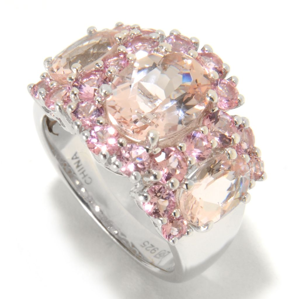 137-227 - Gem Insider Sterling Silver 3.62ctw Morganite & Pink Tourmaline Three-Stone Ring