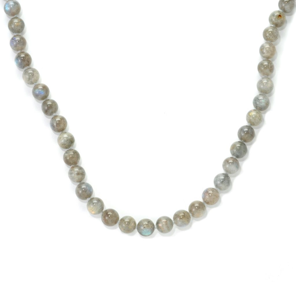 "137-228 - Gem Insider Sterling Silver 36"" 7.5mm Labradorite Bead Necklace"