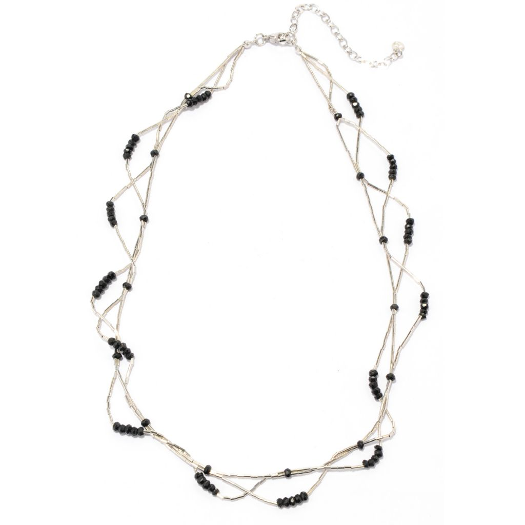 "137-242 - Gem Treasures Sterling Silver 18"" Black Spinel Liquid Silver Station Necklace"