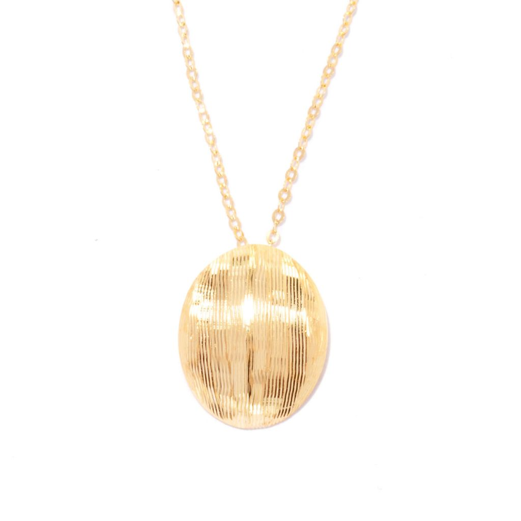 137-256 - Italian Designs with Stefano 14K Gold Textured Oval Shield Pendant w/ Chain