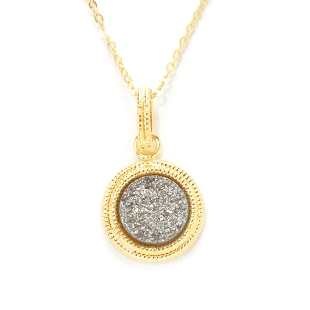 137-258 - Italian Designs with Stefano 14K Gold 10mm Drusy Textured Halo Pendant