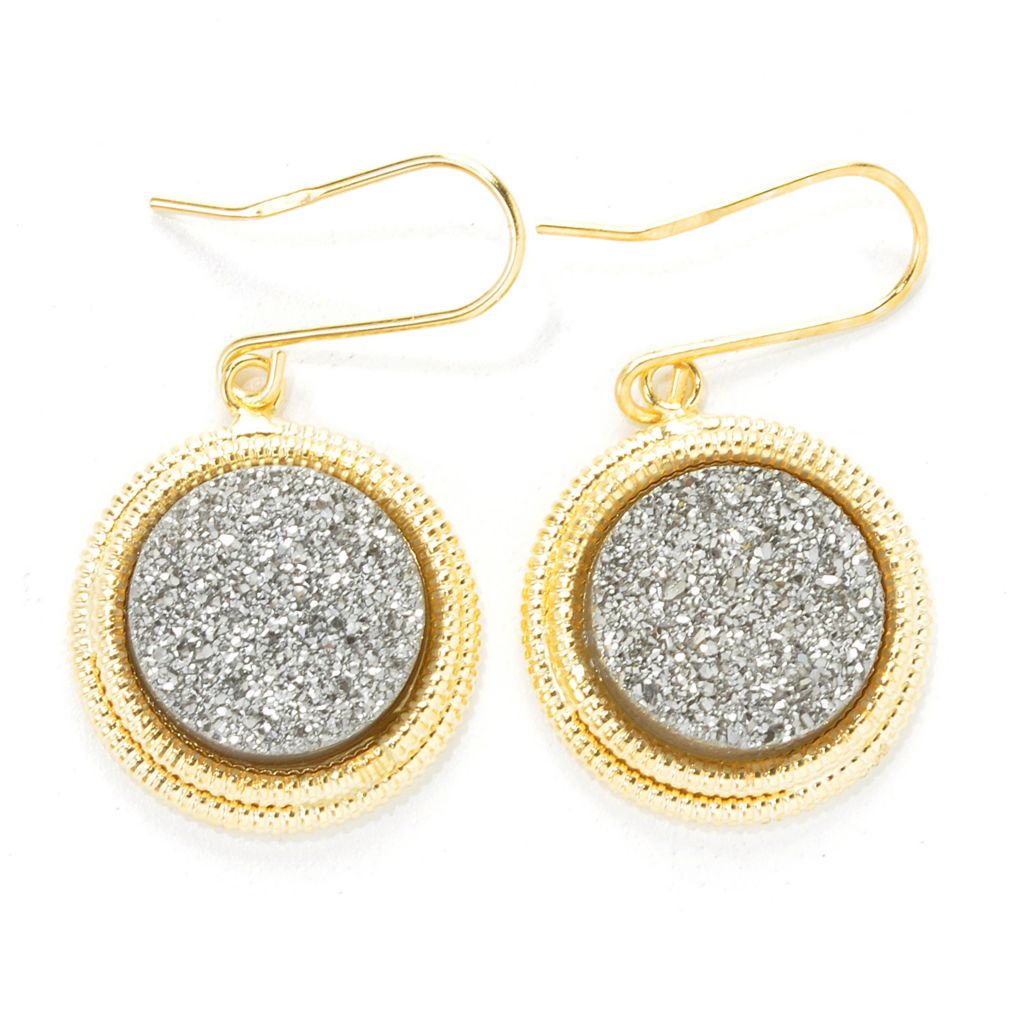 "137-260 - Italian Designs with Stefano 1.25"" 14K Gold 12mm Drusy Textured Halo Drop Earrings"