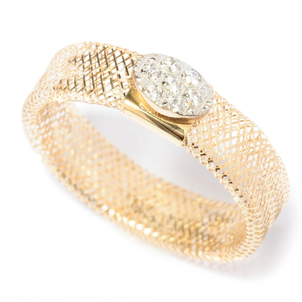 137-271 - Italian Designs with Stefano 14K Gold Simulated Diamond Cluster Stretch Mesh Ring