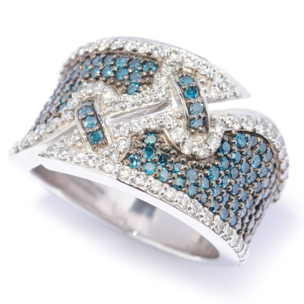 137-286 - Ultimate Silver™ 1.65ctw Blue & White Diamond Diagonal Split Wide Band Ring