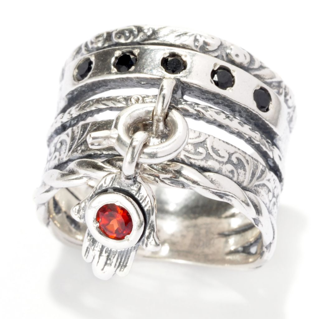 137-288 - Passage to Israel Sterling Silver Interchangeable Gemstone Charm Wide Band Ring