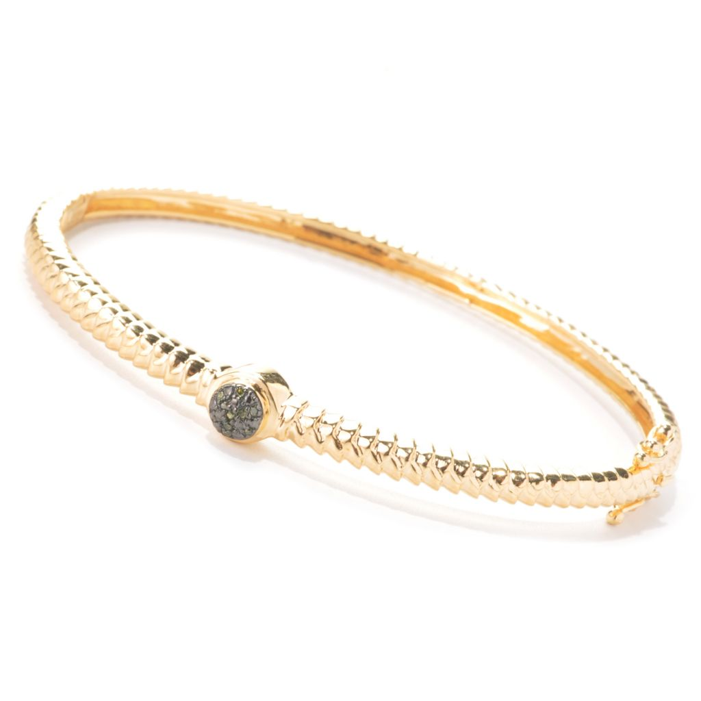 137-292 - Diamond Treasures 0.05ctw Fancy Color Diamond Textured Stack Bangle Bracelet