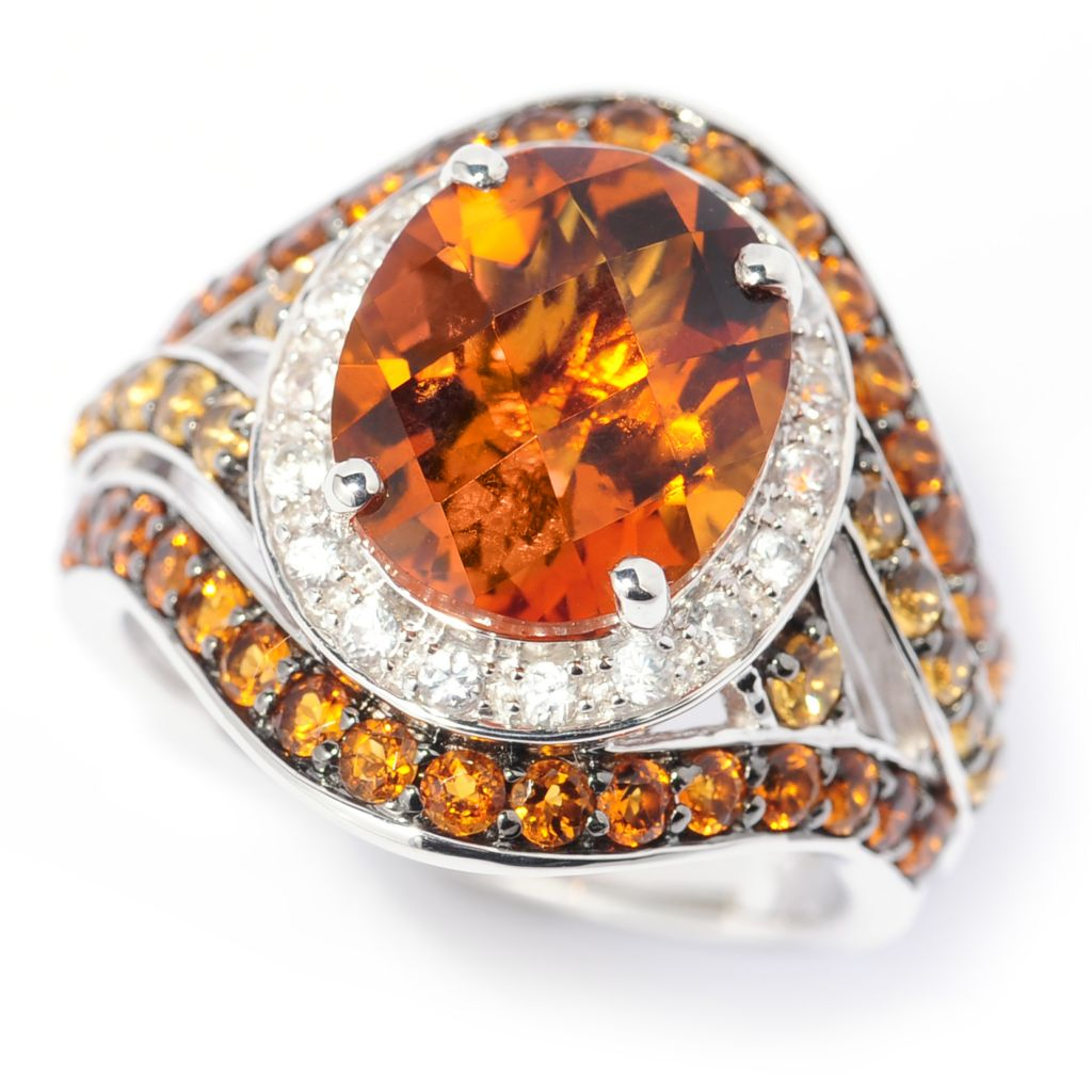 137-295 - Gem Insider Sterling Silver 3.83ctw Madeira Citrine & Multi Gem Halo Ring
