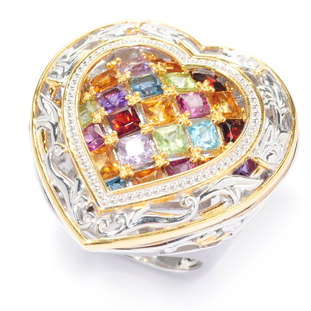 137-296 - Gems en Vogue II 4.02ctw Princess Cut Multi Gemstone Heart Ring