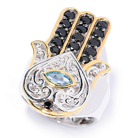 137-297 - Gems en Vogue 12.58ctw Black Spinel & Swiss Blue Topaz Hamsa Ring