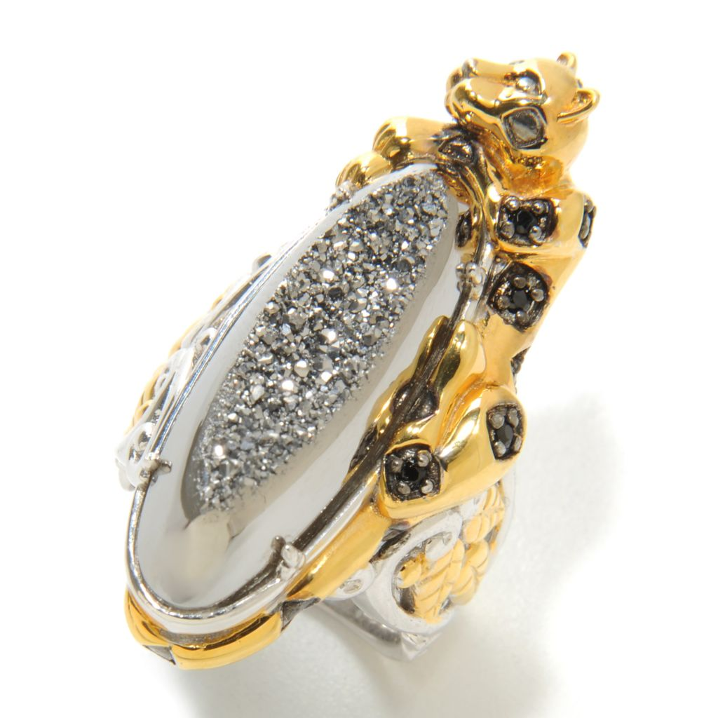 137-298 - Gems en Vogue 28 x 9mm Drusy & Black Spinel Elongated Panther Ring