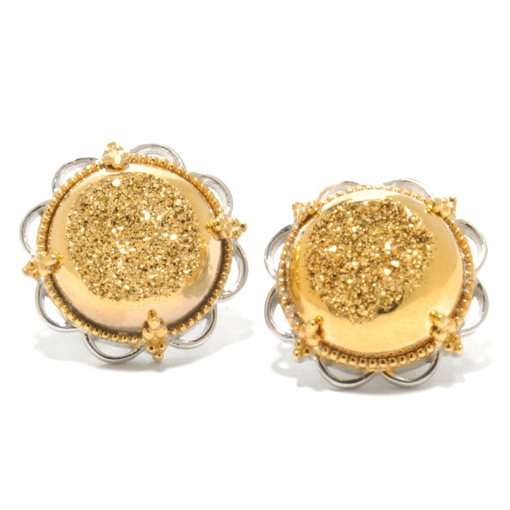 137-299 - Gems en Vogue II 14mm Round Drusy Stud Earrings