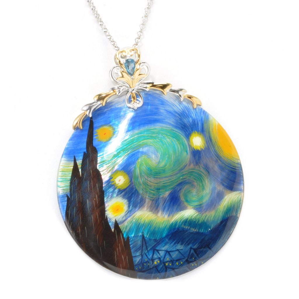 "137-303 - Gems en Vogue 50mm Hand-Painted Mother-of-Pearl ""Starry Night"" Pendant w/ Chain"