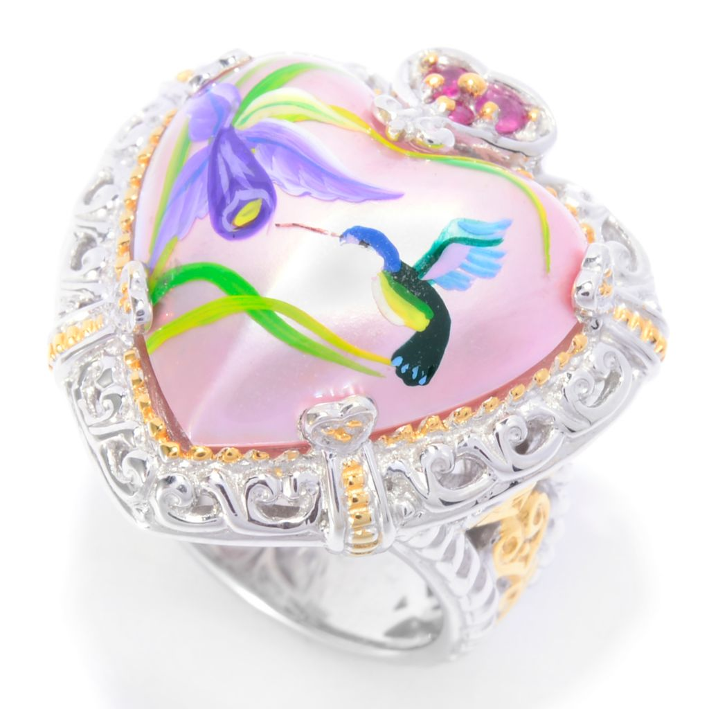 137-304 - Gems en Vogue 17mm Hand-Painted Heart Shaped Mabe Cultured Pearl Hummingbird Ring