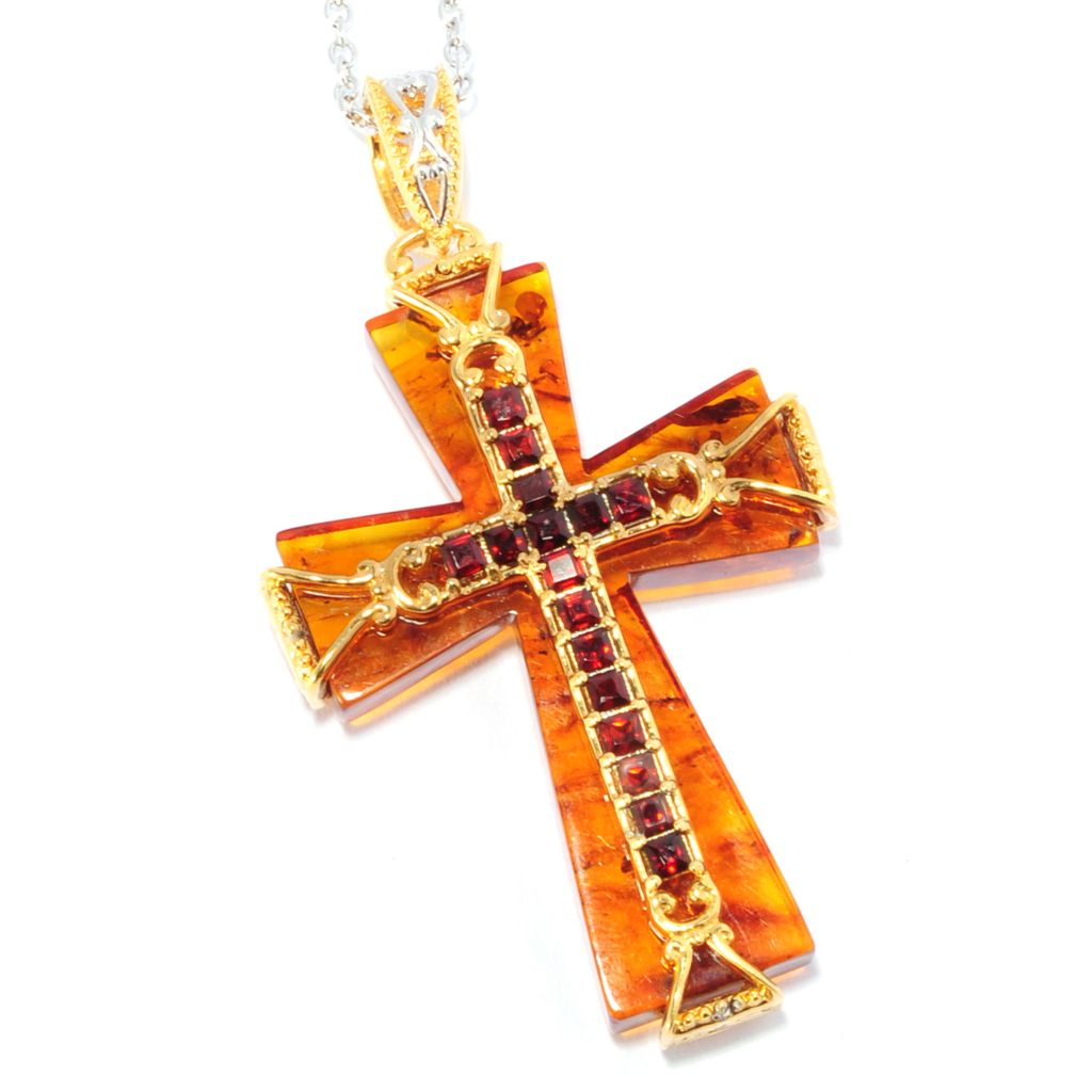137-305 - Gems en Vogue 38 x 25mm Baltic Amber & Garnet Reversible Cross Pendant w/ Chain