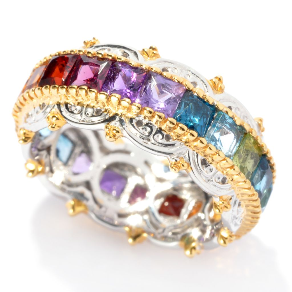 137-307 - Gems en Vogue II 3.43ctw Princess Cut Multi Gemstone Eternity Band Ring