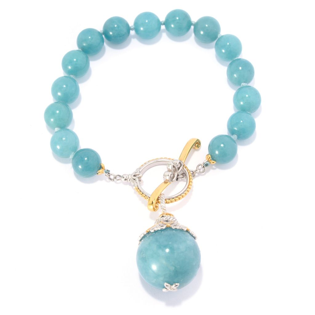 137-308 - Gems en Vogue 10mm Round Aquamarine Bead Toggle Bracelet w/ Drop Charm