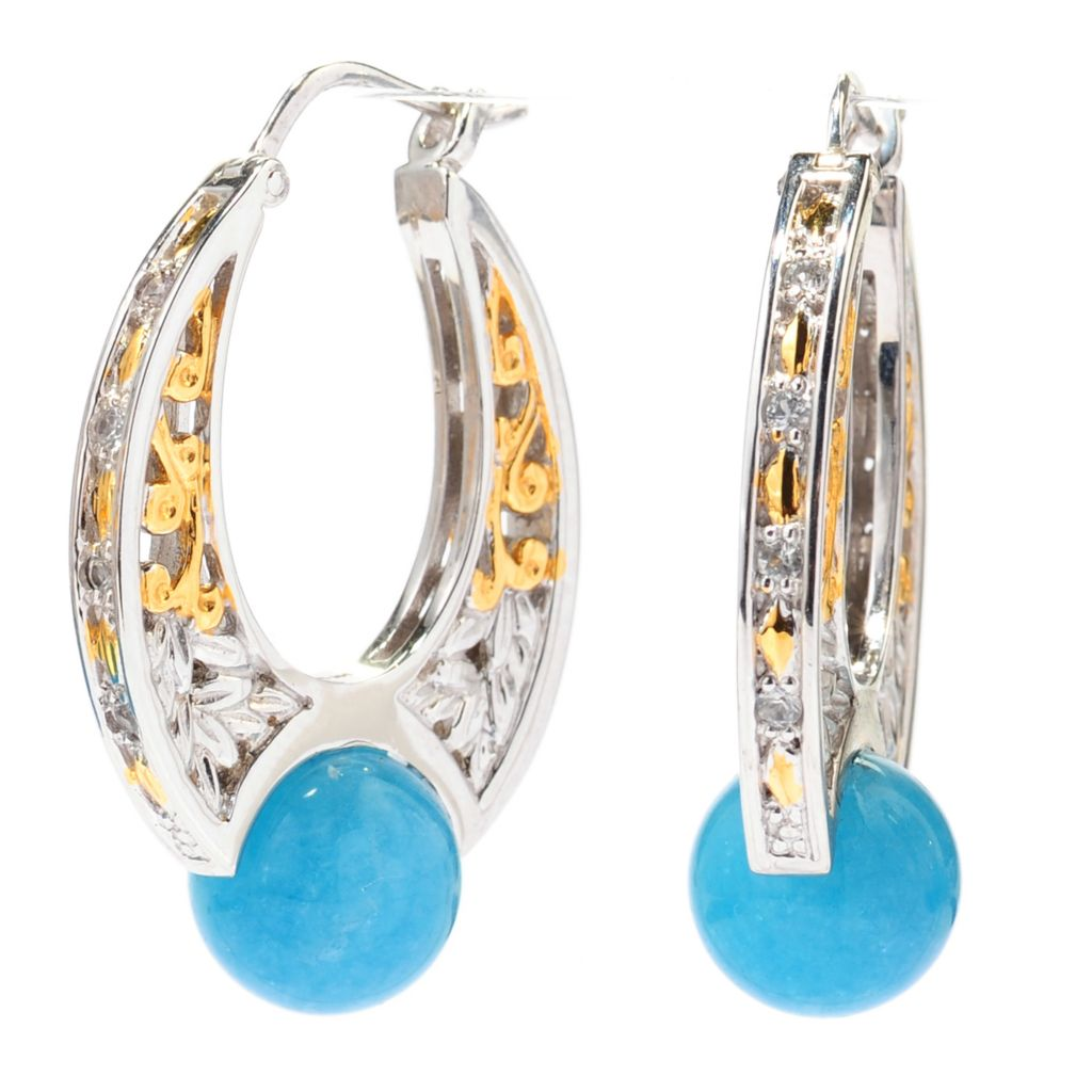 "137-309 - Gems en Vogue 1.25"" 10mm Aquamarine Bead & White Sapphire Hoop Earrings"