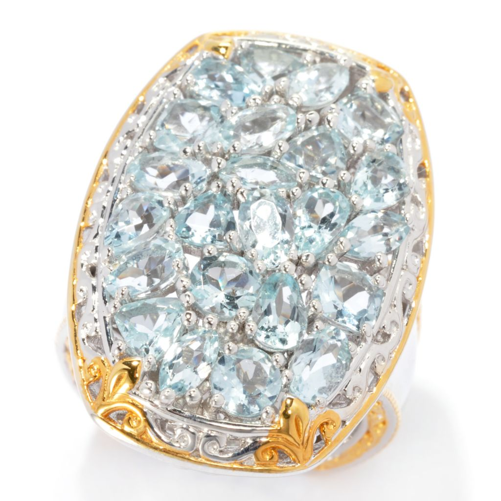 137-312 - Gems en Vogue 4.62ctw Multi Shape Aquamarine Ring